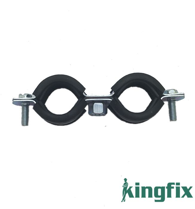 Twin Pipe Clamp With Rubber
